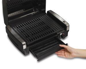 large drip tray works well on the hamilton beach indoor grill